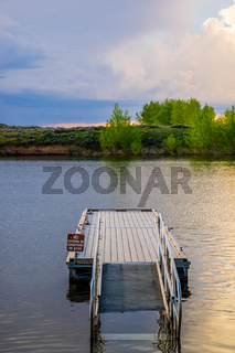 A very long boardwalk in Mikesell Potts Recreational Area, Wyoming