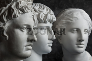 Gypsum copy of ancient statue Apollo, Antinous and Venus head on dark textured background. Plaster sculpture face.
