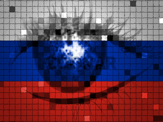 Eye On Russian Flag Shows Hacking 3d Illustration
