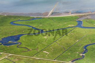 Hallig Hooge, Luftbild vom Schleswig-Holsteinischen Nationalpark Wattenmeer