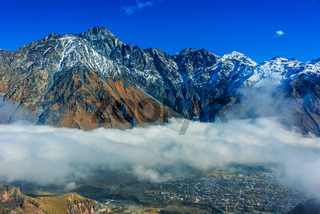 Mountains over Stepantsminda formerly Kazbegi in the Khevi province