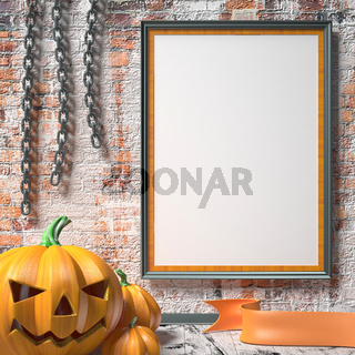 Jack O Lantern pumpkin, chains and mock up blank poster on white wall. 3D
