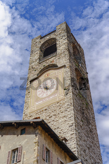 Bergamo, Italy Old Town civic tower with clock.