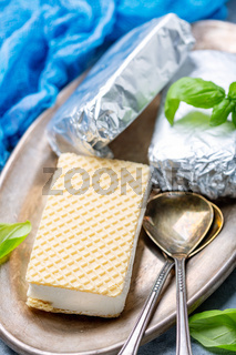 Waffle sandwich with artisanal vanilla sundae.