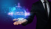 Man hand holding digital technology concept
