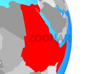 Northeast Africa on globe