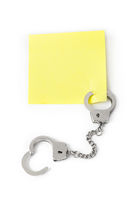 Blank paper with handcuffs