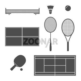 Equipment tennis, vector illustration.
