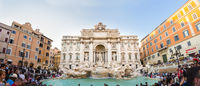 Tourists visiting the Trevi Fountain, most iconic fountains in the world, Rome, Italy.