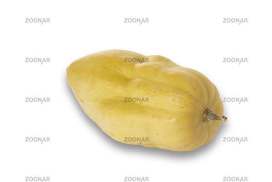 Gelber Kürbis auf weißem Hintergrund