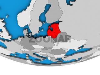 Baltic States on 3D globe