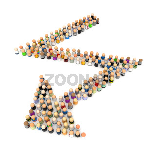 Cartoon Crowd, Zigzag Arrow