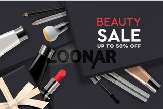 Beauty Sale poster with cosmetic products, gift boxes, ads streamers. Modern design vector illustration concept for website and mobile website development.