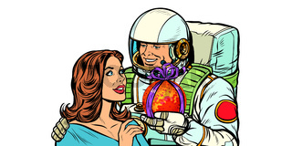 Couple in love. Astronaut gives a woman Mars. isolate on white background