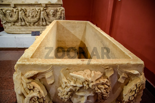 The inner part of the marble sarcophagus.