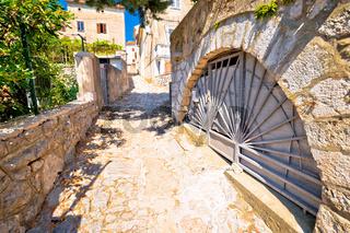 Town of Omisalj old mediterranean street view