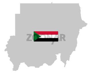 Fahne und Landkarte des Sudan - Flag and map of the Sudan