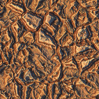 Aerial view from air plane of brown nature mountains seamless texture background. 3d illustration