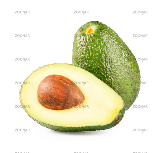 Ripe half avocado