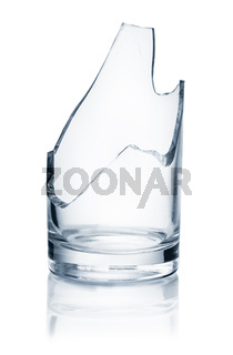 Front view of broken glass