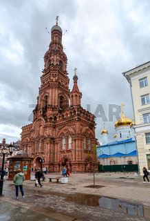 Bell tower of the Epiphany Cathedral in Kazan, Russia