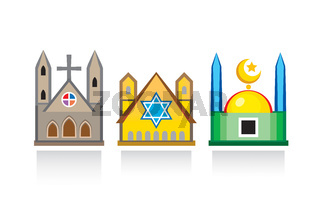 Cathedral church, Jewish synagogue, Islamic mosque. Religious temples, architectural structures.