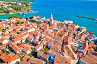 Idyllic Adriatic island town of Krk aerial view