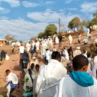 in lalibela ethiopia crowd of people in  the celebration