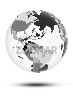 Caribbean on political globe