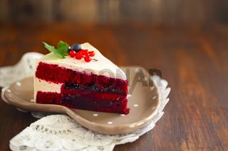 Red Velvet Cake decorated with cream