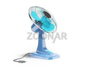 Blue fan to cool the office desktop 3d render on white background with shadow