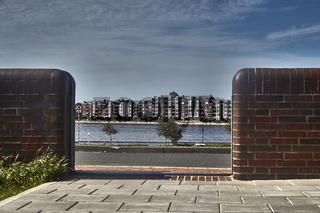 Blick zur Südstadt über den Bontekai in Wilhelmshaven