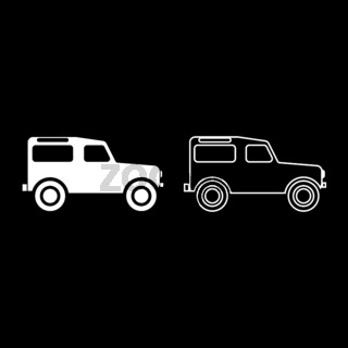 Off road vehicle icon set white color illustration flat style simple image