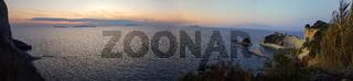 Beautiful panoramic view of Cape Drastis in the island of Corfu in Greece.