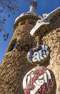 Outside of the conical spire cross at Park Guell