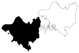 National Capital District Province (Independent State of Papua New Guinea, PNG, Provinces of Papua New Guinea) map vector illustration, scribble sketch Port Moresby map