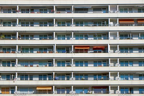 Facade of a prefabricated public housing building seen in Berlin, Germany