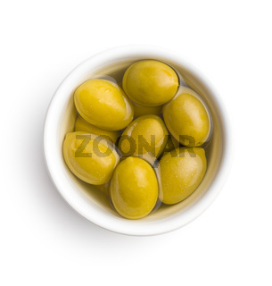 Green olives in bowl.
