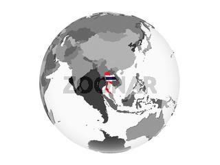 Thailand with flag on globe isolated