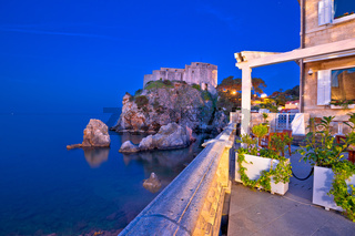 Dubrovnik waterfront and Lovrijenac landmark night view