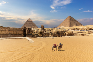 The Great Pyramids, the Sphinx and the temple entrance in Giza, Egypt
