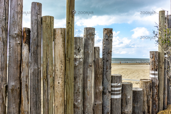 Wooden decorative fence at the seaside