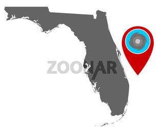 Karte von Florida und Pin mit Hurrikanwarnung - Map of Florida and pin with hurricane warning