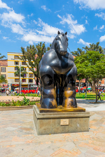 Botero sculpture called horse Medellin Colombia