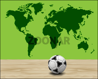 Soccer ball illustration with green world map