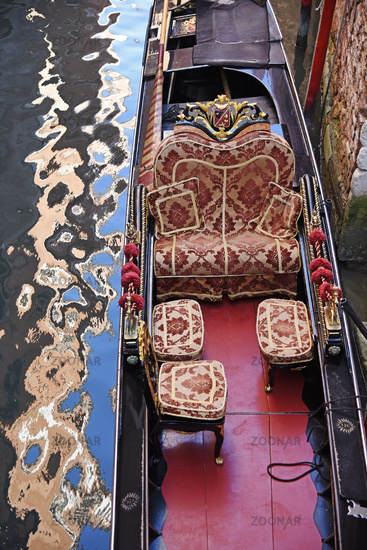 empty gondola, ornaments, water reflections, Venice, Italy, Europe