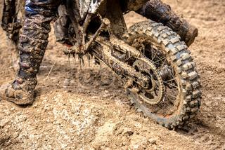 Motocross rider on the race