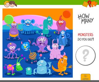 count the funny monsters activity worksheet