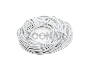 White electric cable wire isolated on white