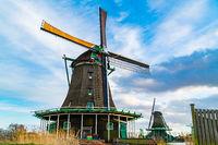 View of windmills at Zaanse Schans Village